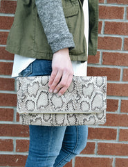 JULIA CLUTCH - White Snake - Elle Bleu Shoe Boutique