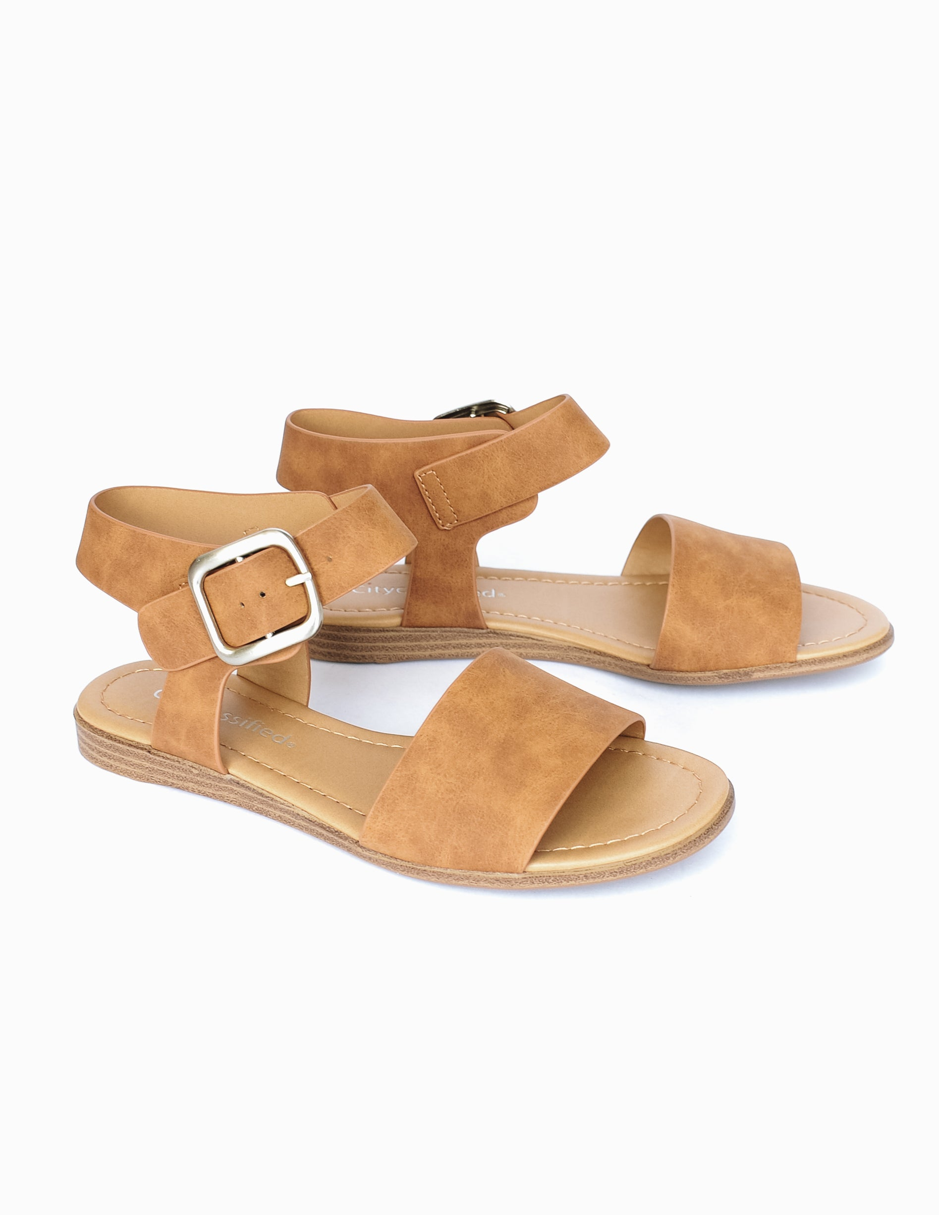 Camel colored sandal with tan insole and faux wood sole