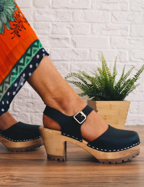 M.I.A. ABBA CLOG - Black Leather - Elle Bleu Shoe Boutique
