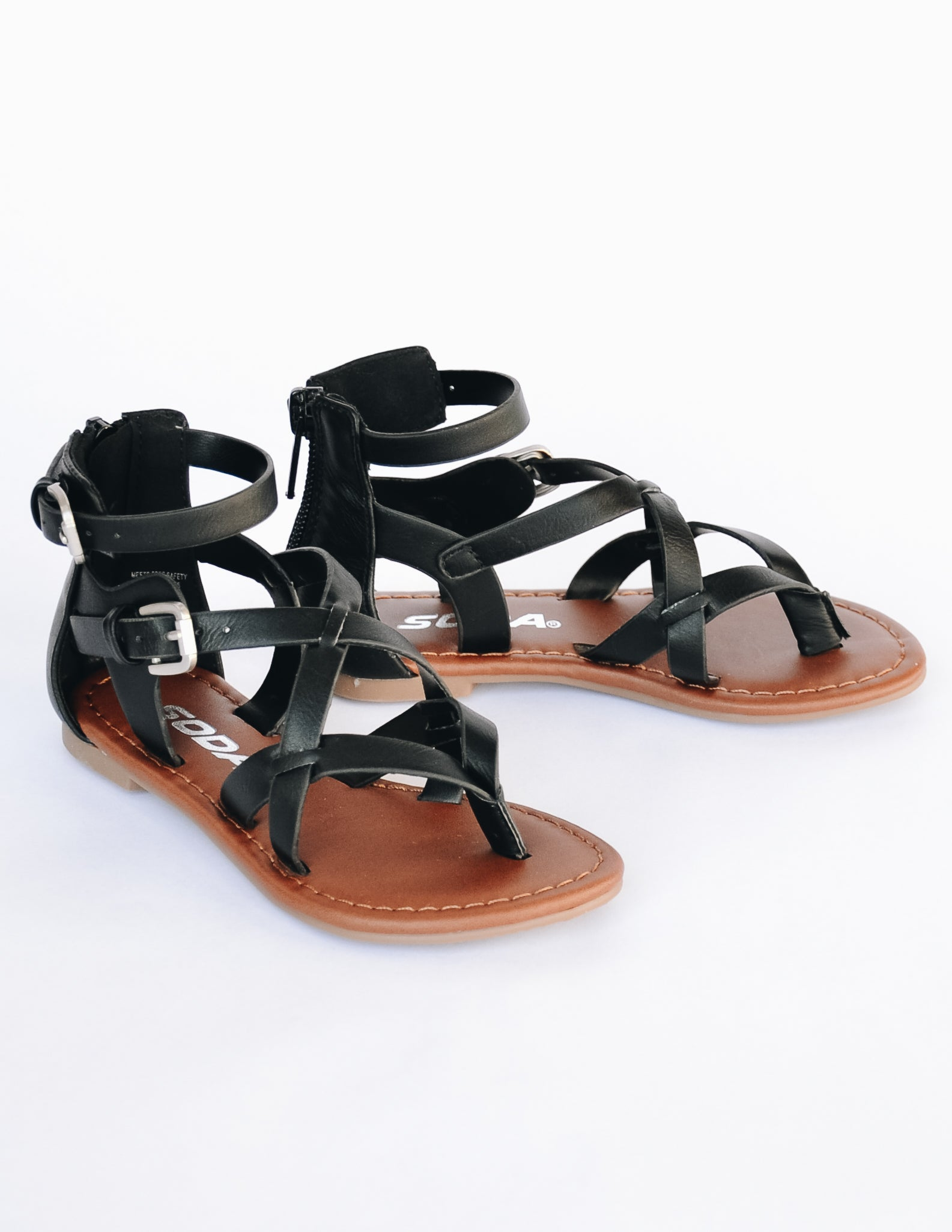 Black strappy sandal with two adjustable buckles and back zipper