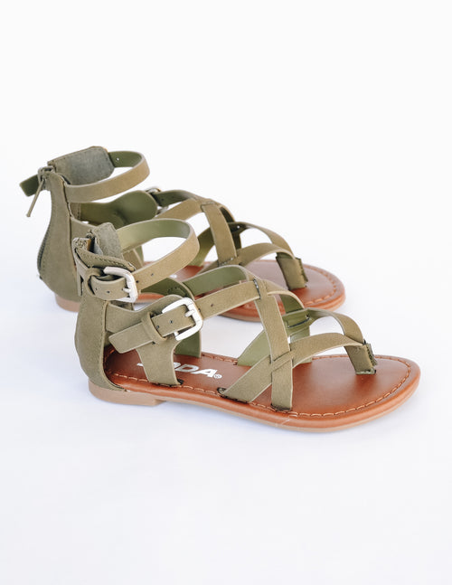 Olive strappy kid girl sandal with two adjustable buckles and back zipper