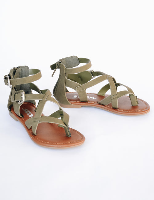 Olive green straps and tan insole on kid girl sandal - elle bleu shoes