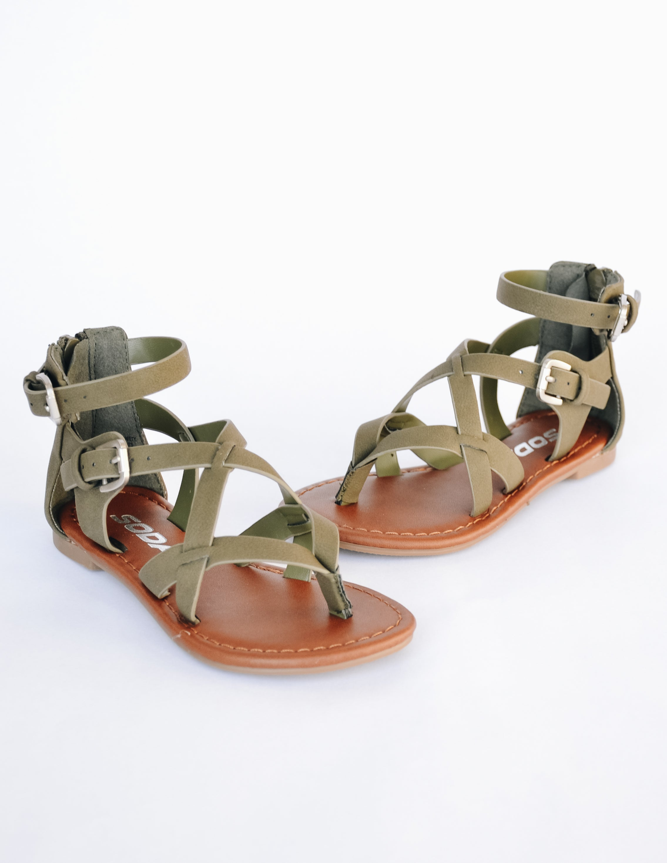 Kid girl sandal facing forward on white background showing straps