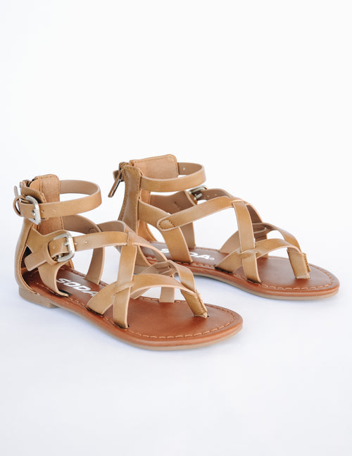 Taupe strappy upper with brown insole, adjustable buckles, and back zipper