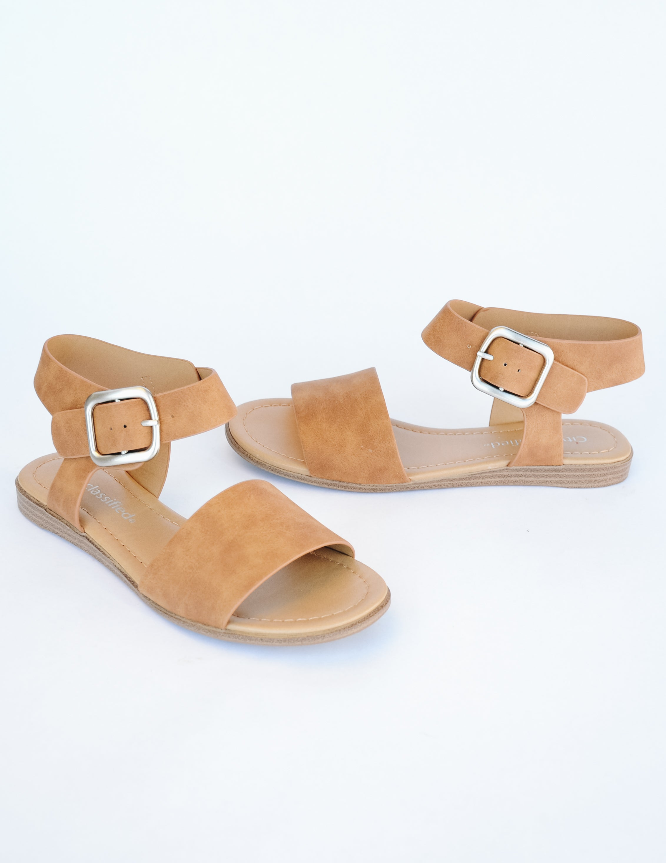 Tan sandal on white background - elle bleu shoes