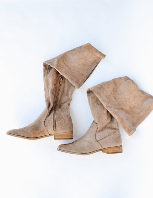Taupe gwen boot with inner zipper on white background - elle bleu shoes