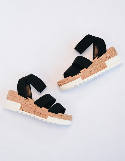 Black platform sandal with faux cork and white rubber sole