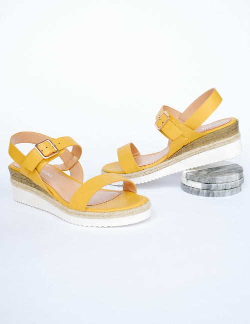 Yellow platform wedge sandals with white sole and faux wood detail