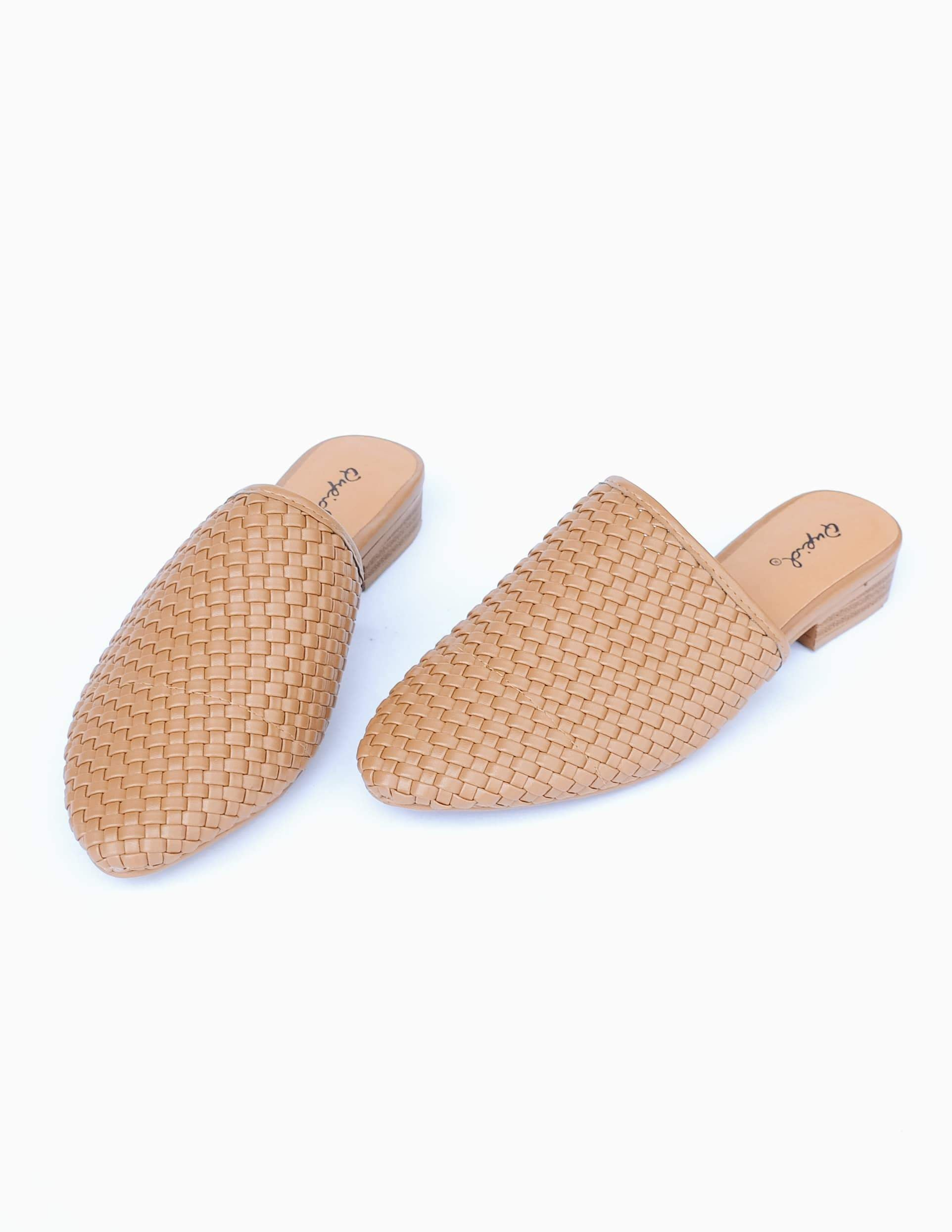 Taupe woven upper on tan insole and tan sole shoe on white background
