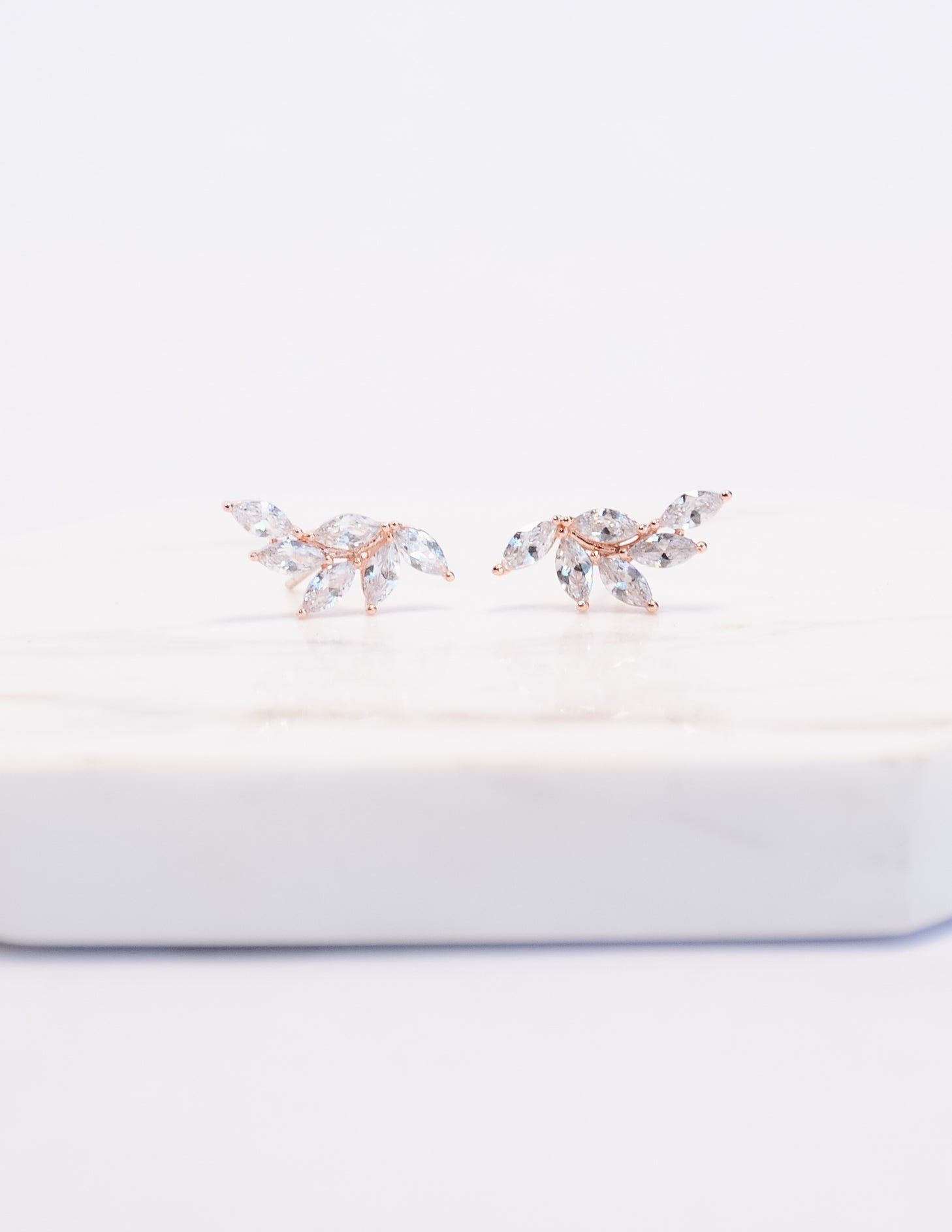 Rose gold angel wing marquise earrings - elle bleu