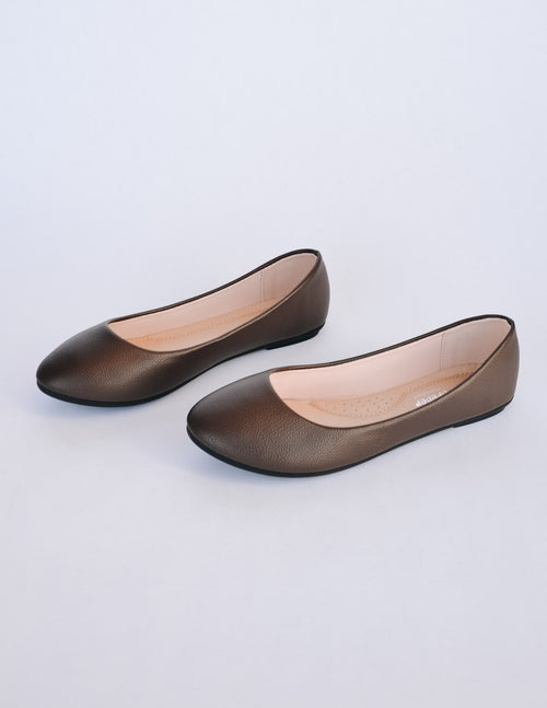 Round toe brown flat with light tan lining and insole - elle bleu shoes