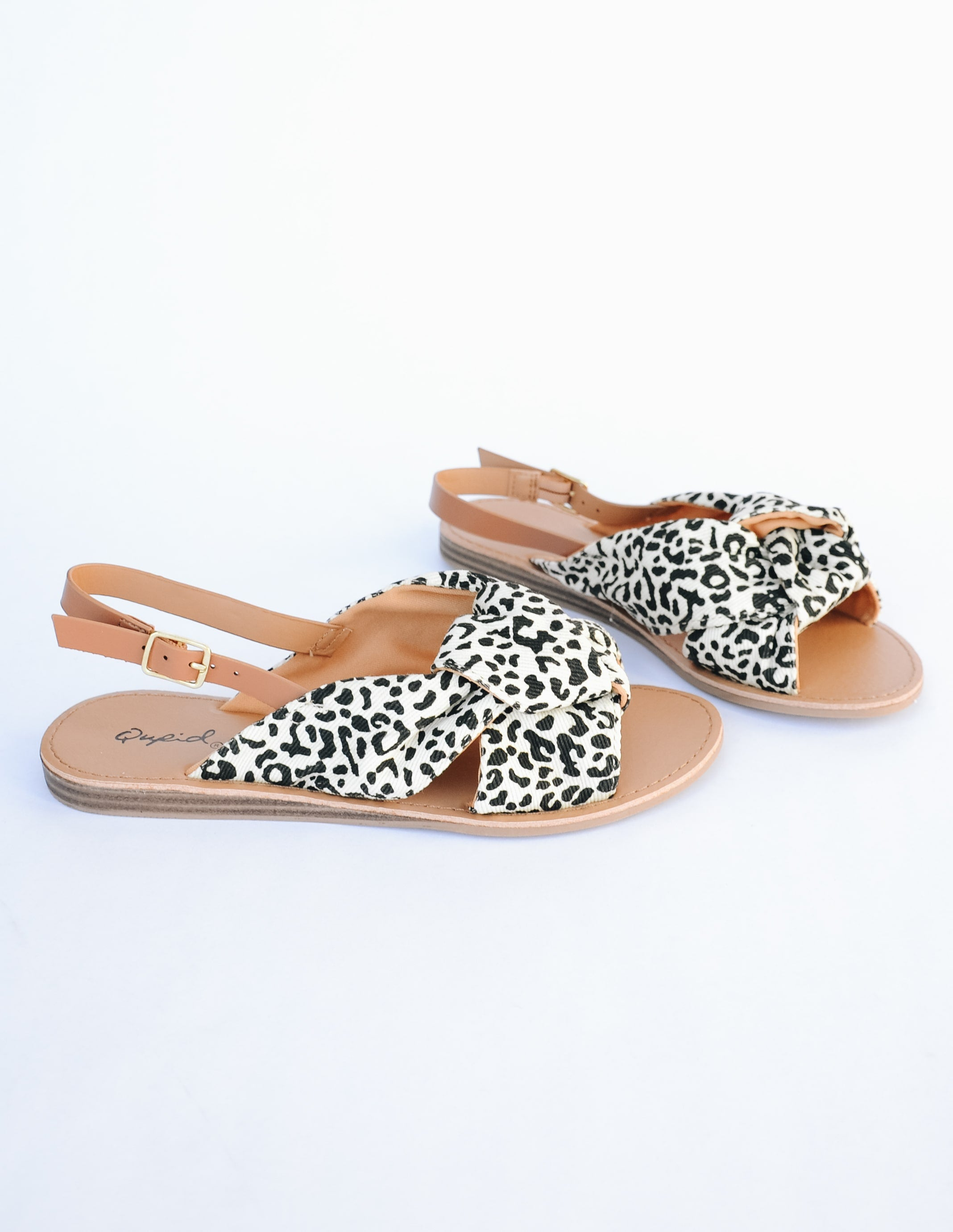 Run wild animal print sandal with tan insole and tan back strap