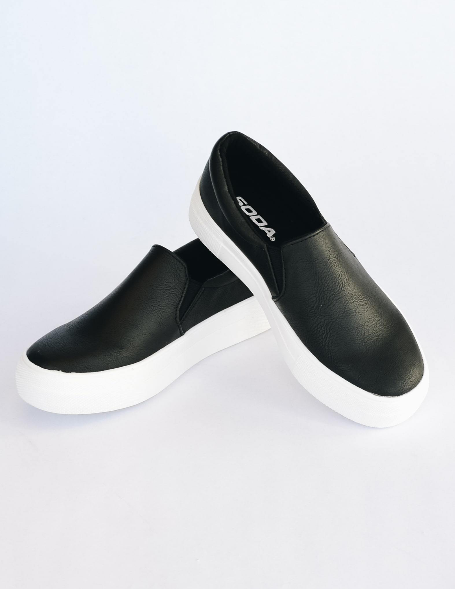 Black slip on sneaker with elastic gores and thick white sole - elle bleu shoes