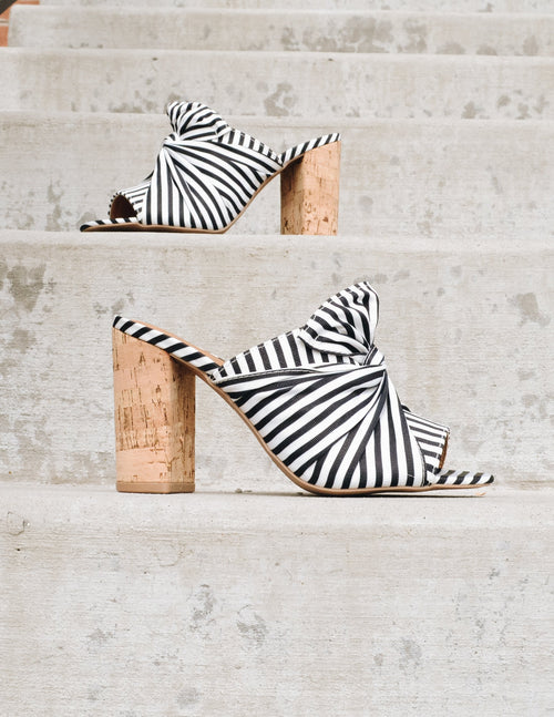 Striped black and white heels with bow upper and open toe