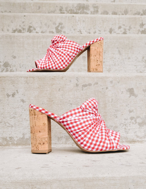 Red checkered heel with faux cork heel - Elle Bleu Shoes