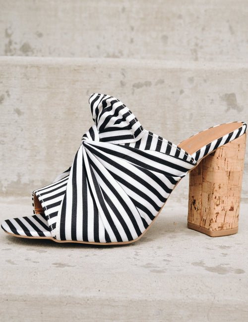 Black and white stripe open toe bow aloha heel outside