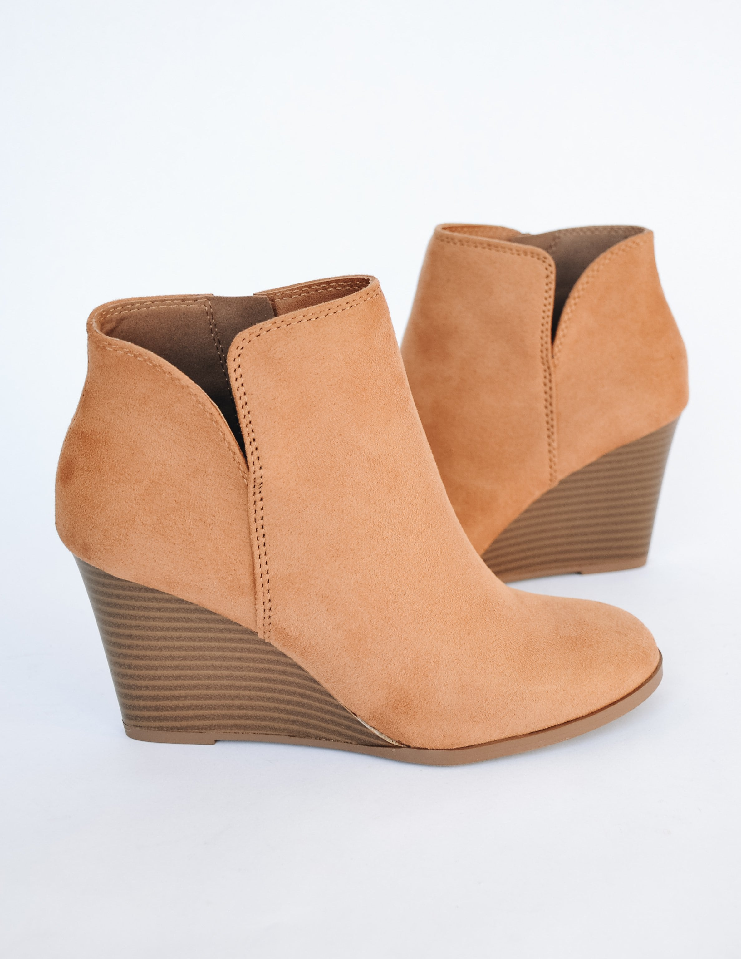 Chamois colored heel with faux suede upper and faux stacked wood heel