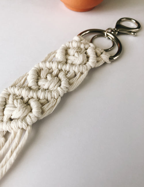LOOP MACRAME KEYCHAIN - Cream - Elle Bleu Shoe Boutique