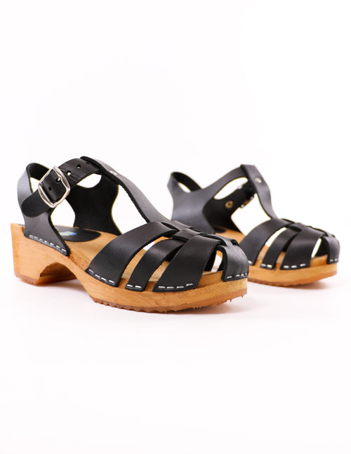 black mia emilly like clogwork swedish clogs on white background - elle bleu shoes