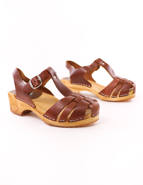brown mia genuine leather like clogwork brown swedish clogs on white background - elle bleu shoes