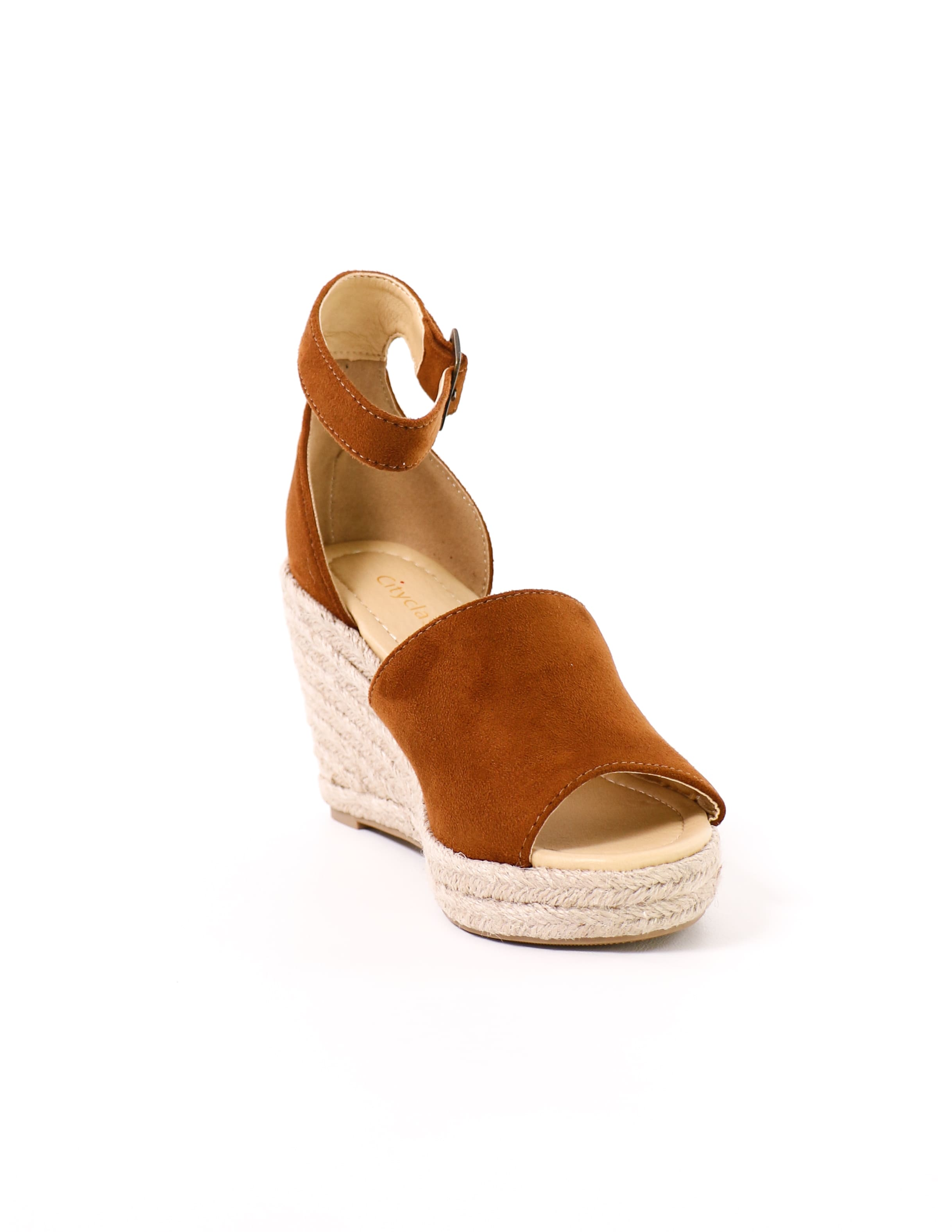 front of the open toe this is not a espadrille wedge in tan - elle bleu shoes