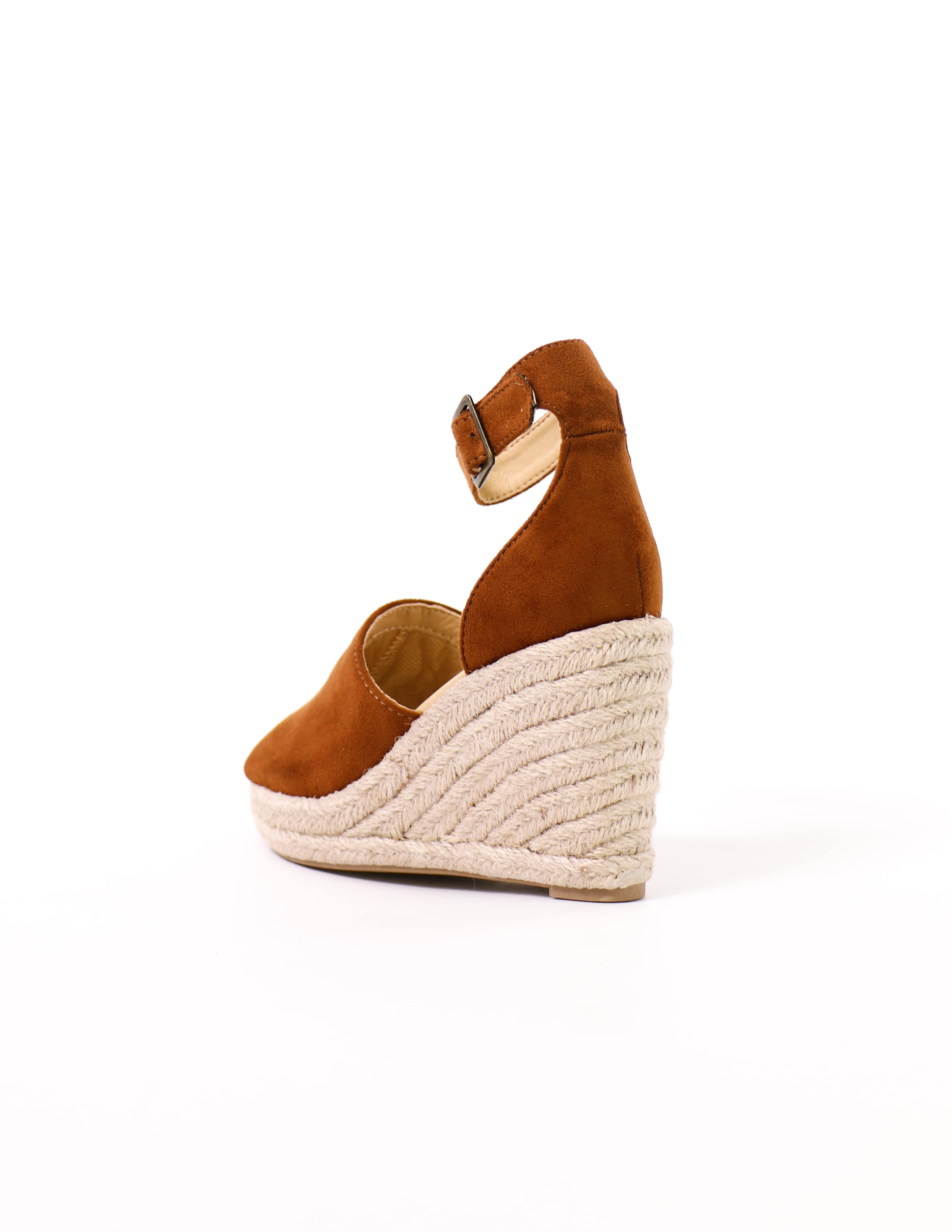 back of the braided esparto rope wrapped this is not a espadrille wedge sandal in tan - elle bleu shoes