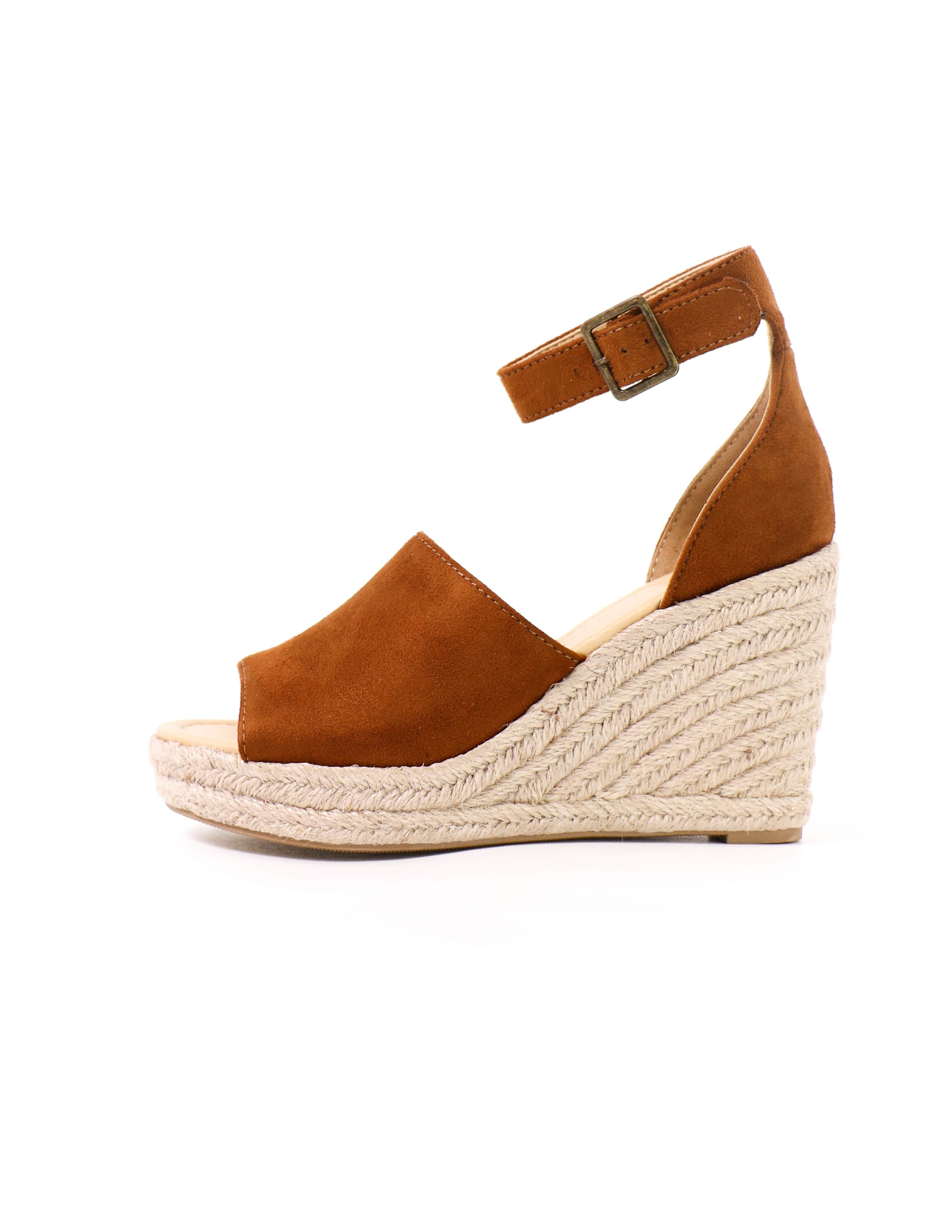 this is not a espadrille tan wedge platform sandal on white background - elle bleu shoes