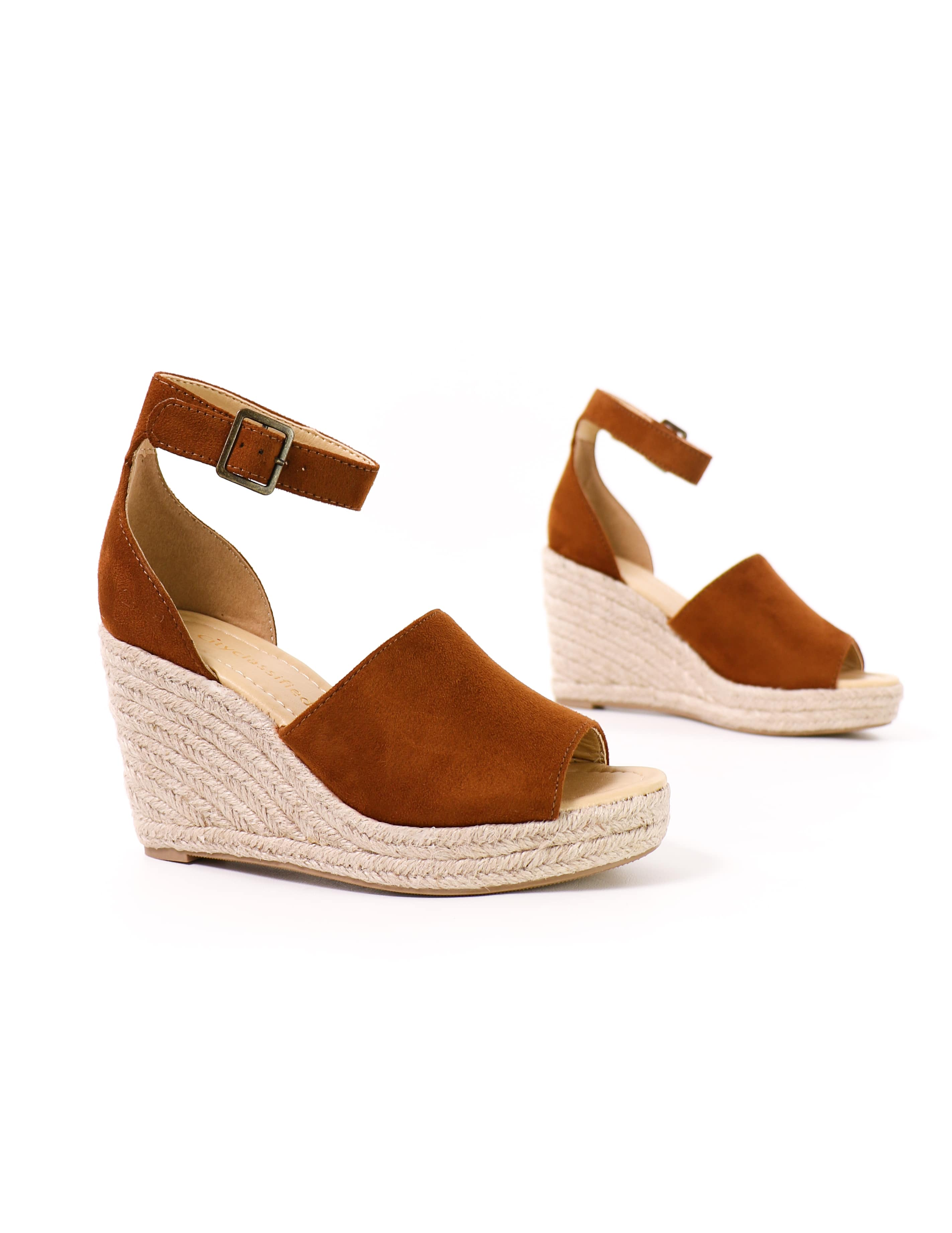 close up of the tan this is not a espadrille wedge platform sandal in tan - elle bleu shoes