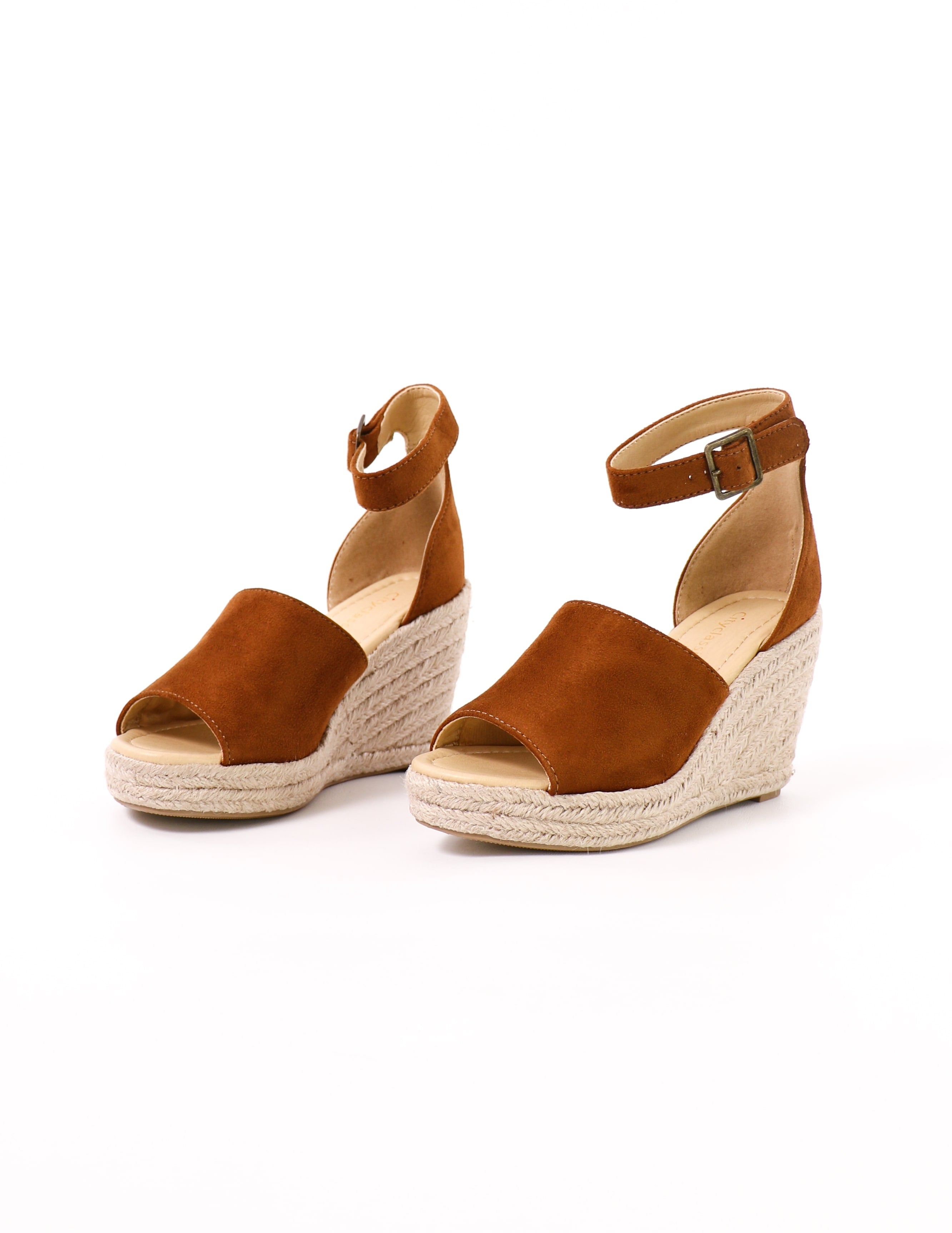 women's this is not a espadrille tan wedge sandal platform heel on white background - elle bleu shoes