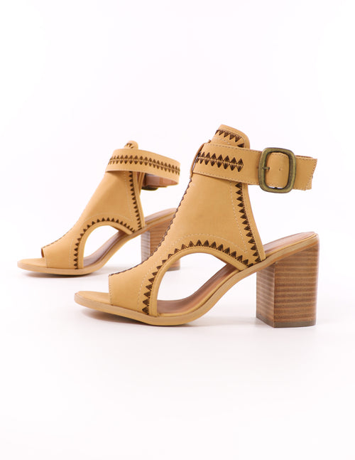 close up of the volatile in all the right places tan heel with brown embroidered detail - elle bleu shoes