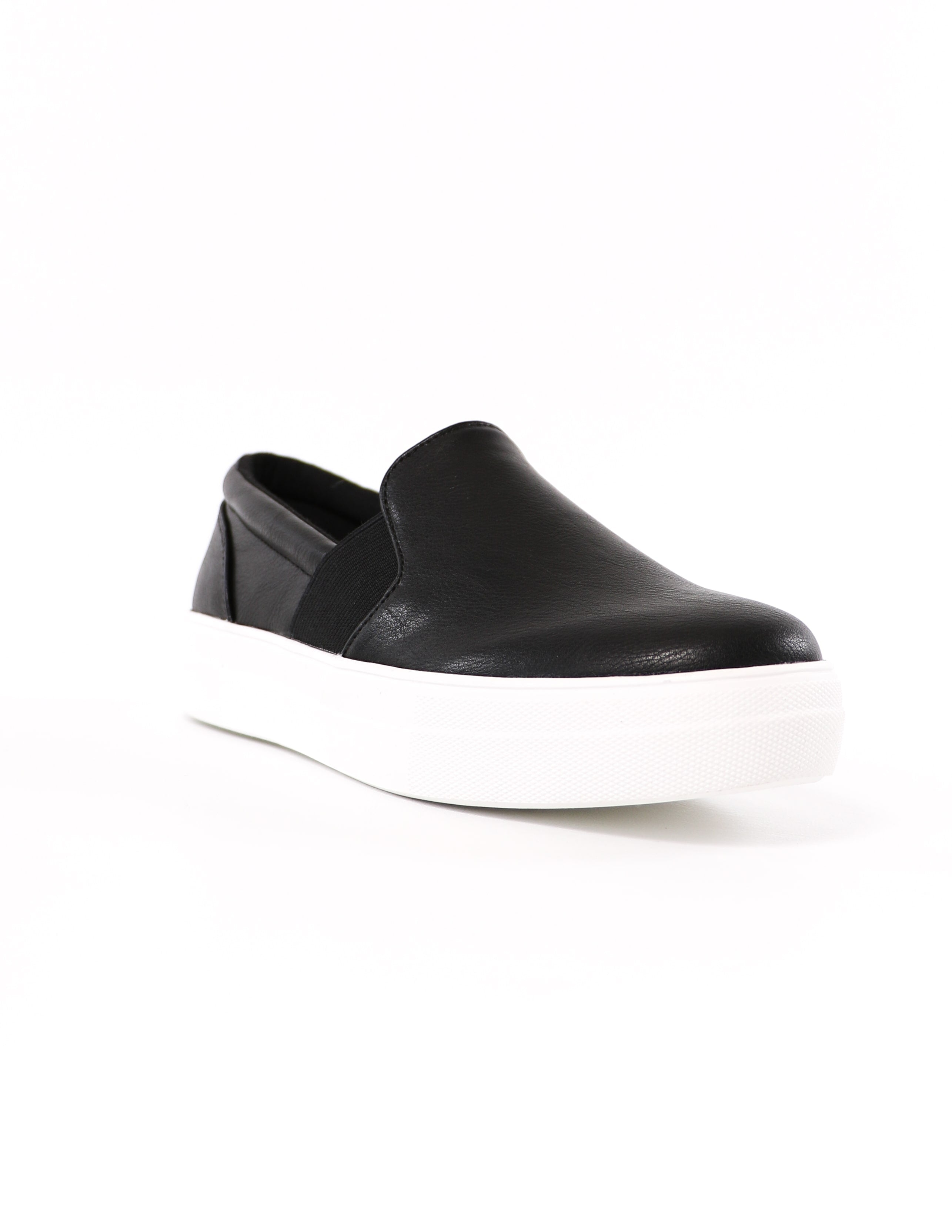 front of the black slip on kickin' it sole-o soda sneaker - elle bleu shoes