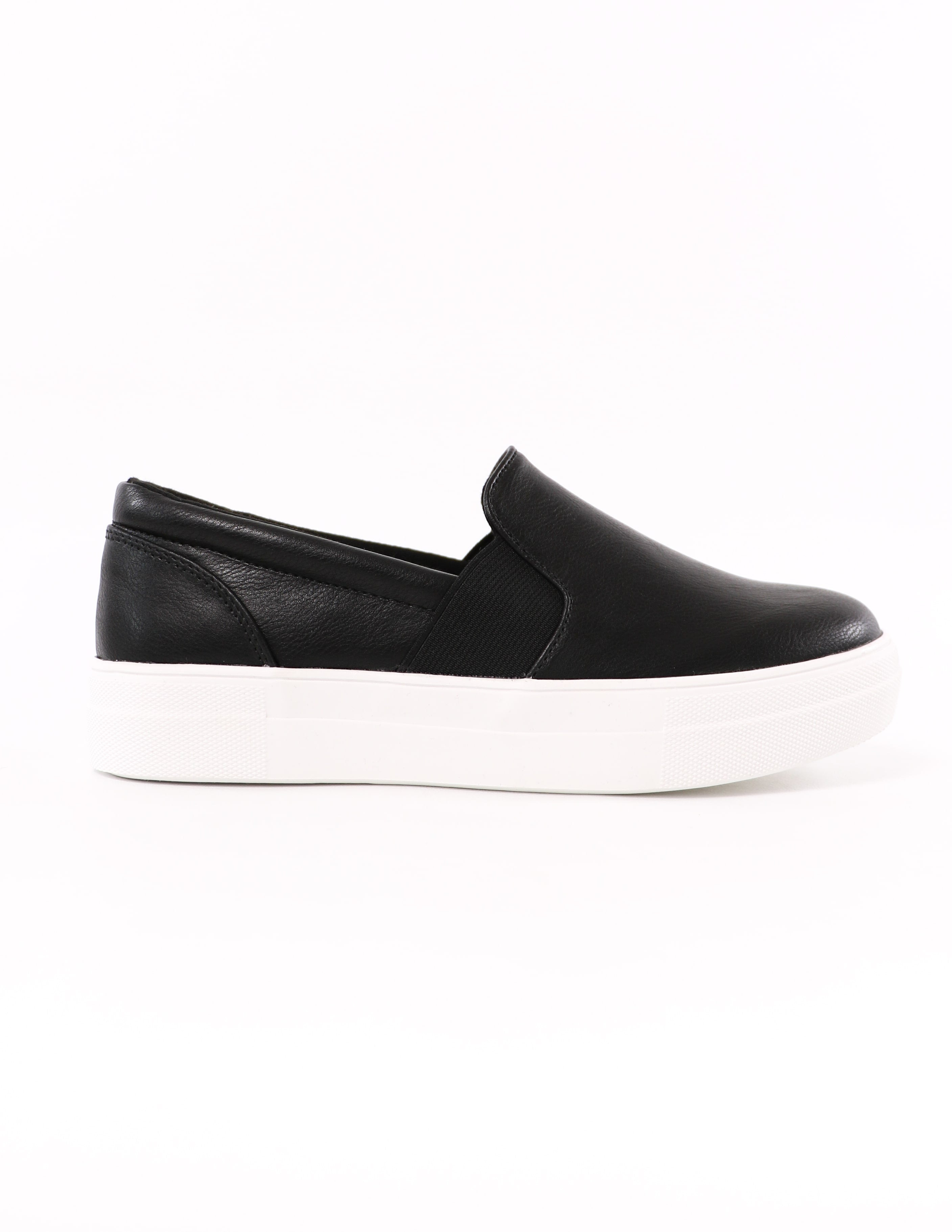 side of the black soda kickin' it sole-o slip on rubber sneaker - elle bleu shoes