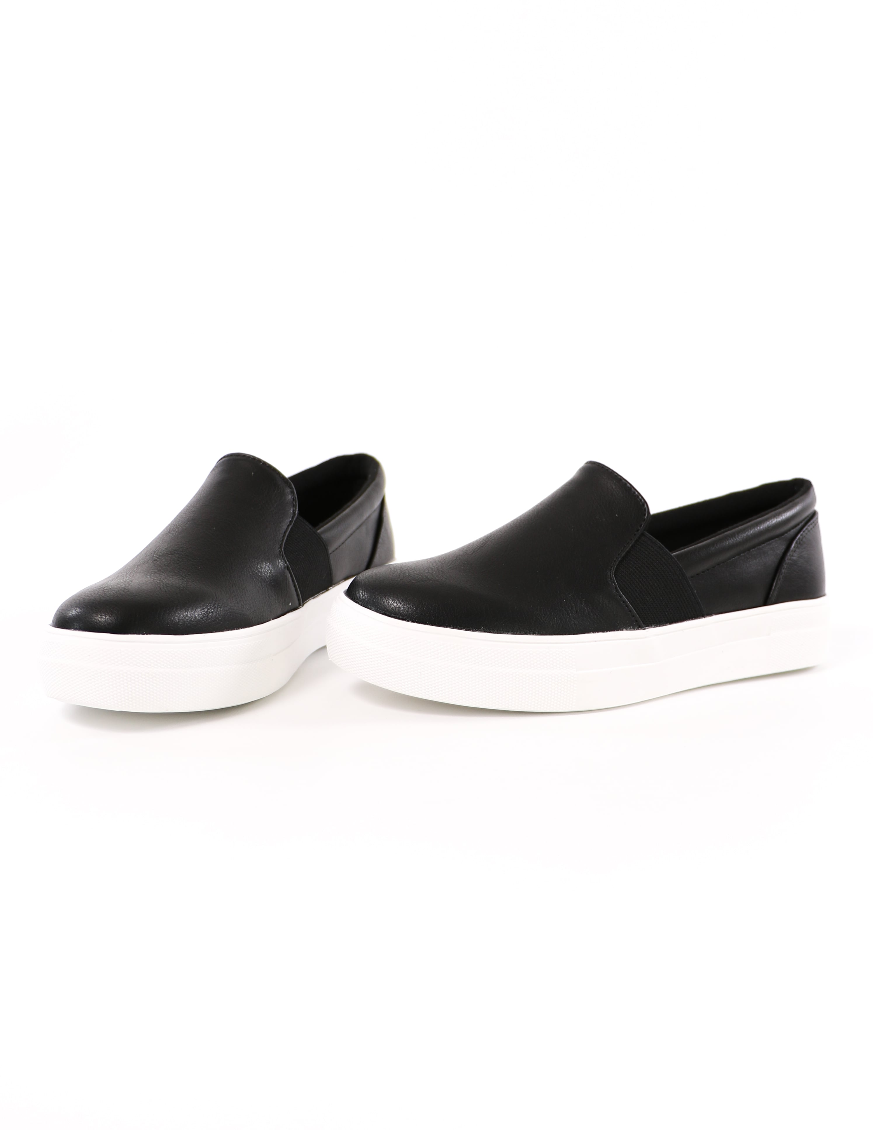 black kickin' it sole-o slip on sneakers on white background - elle bleu shoes
