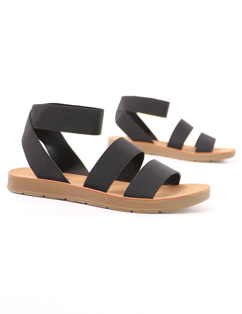 black cabana elastic sandal in black on white background -elle bleu
