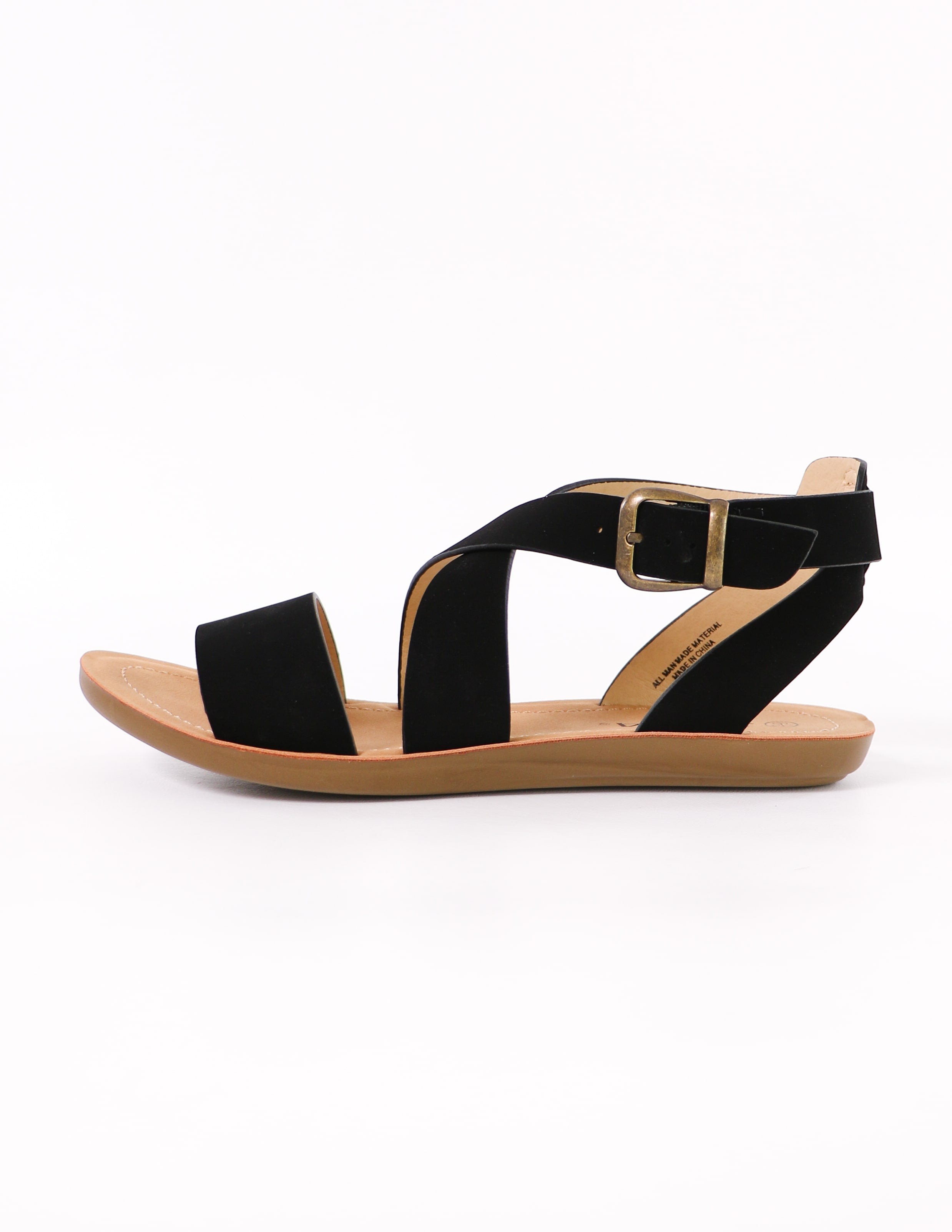 black criss cross my heart strappy sandal with buckle