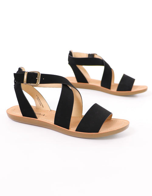 close up of the black criss cross my heart sandal - elle bleu shoes