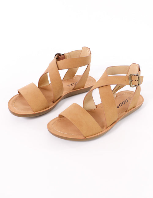 top of the criss cross my heart tan soda sandal - elle bleu