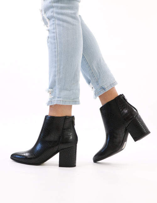 model standing in black croc block ankle boot - elle bleu shoes
