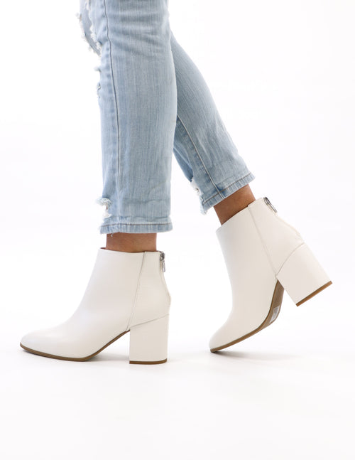 white crocodile croc block ankle boot heel on model - elle bleu shoes