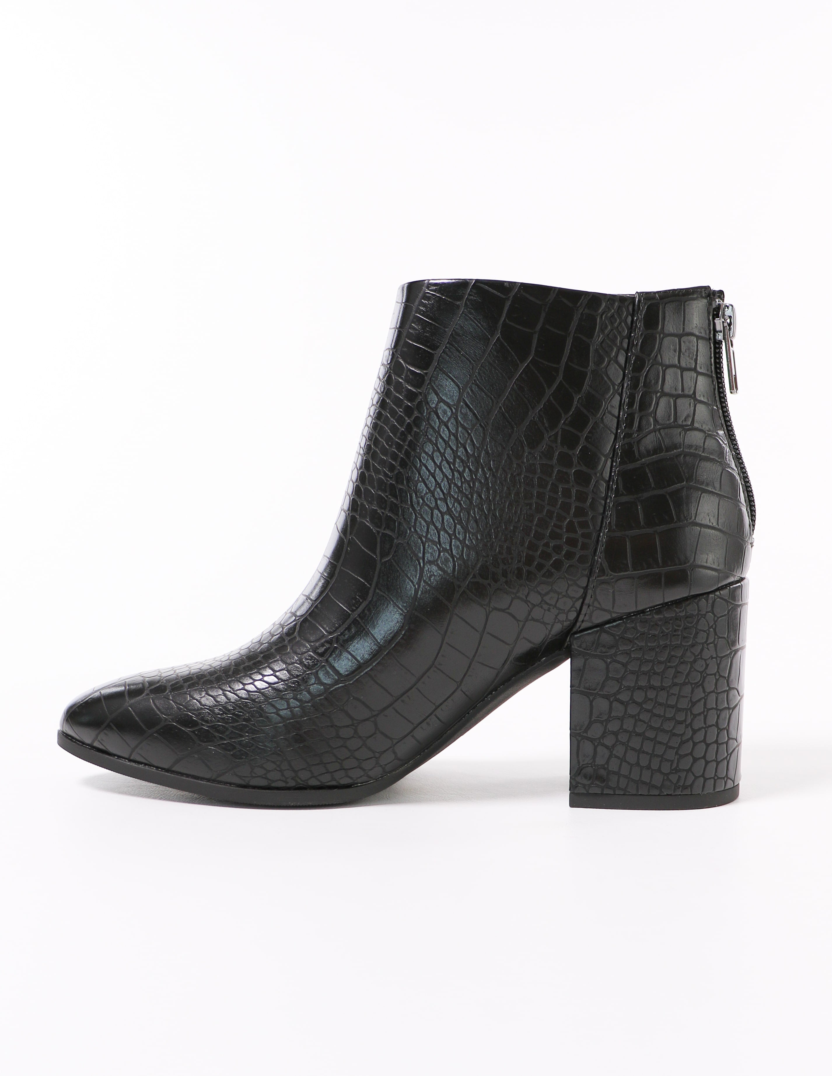 side of the croc block ankle boot black heel on white background