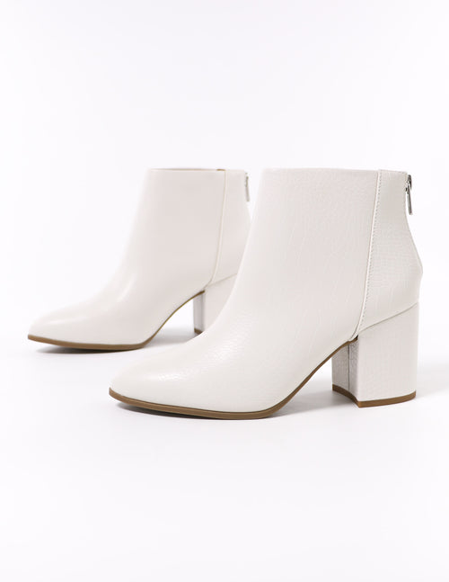 pointed toe white crocodile croc block heel ankle boot - elle bleu shoes
