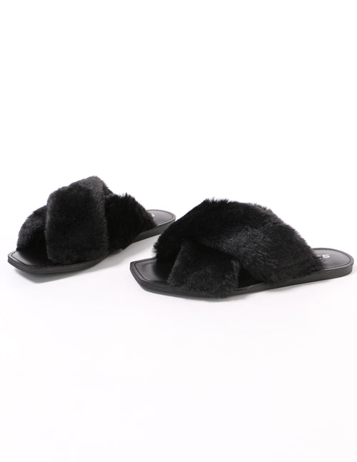 fuzzy business black fur slide with black sole - elle bleu shoes