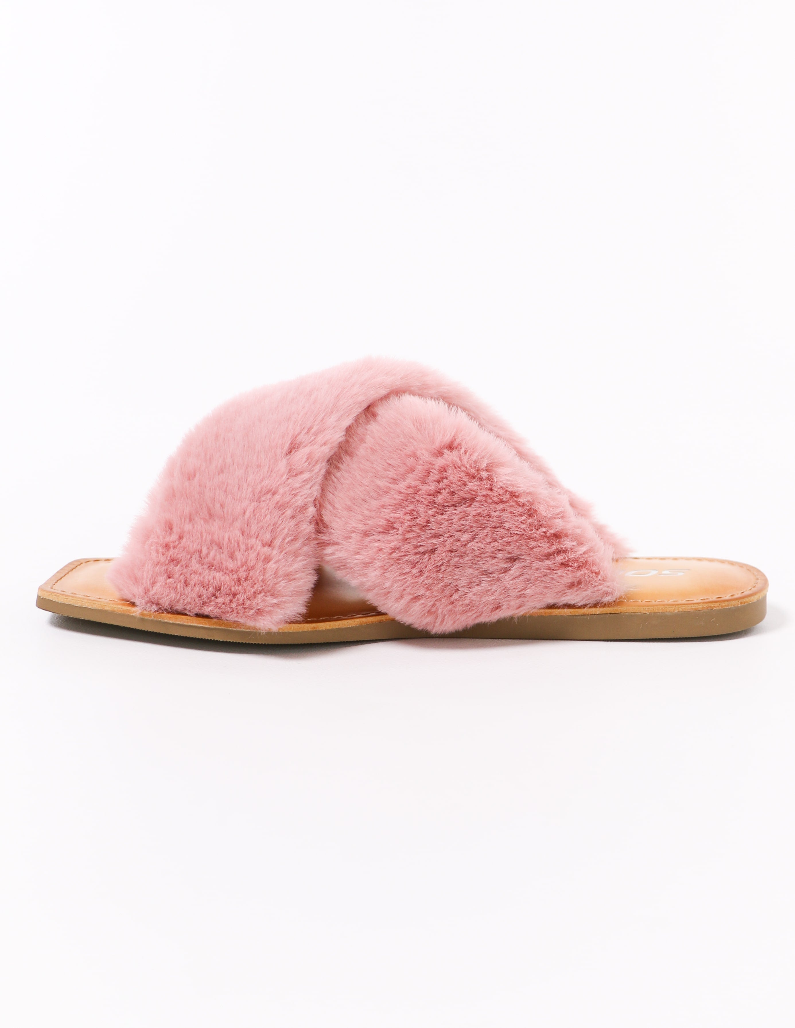 fuzzy business mauve pink flat slide slipper on white background