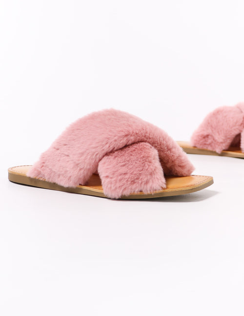 mauve pink fuzzy business slide with square toe sole - elle bleu shoes