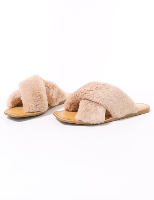 soda fuzzy business natural beige faux fur slide slippers - elle bleu shoes