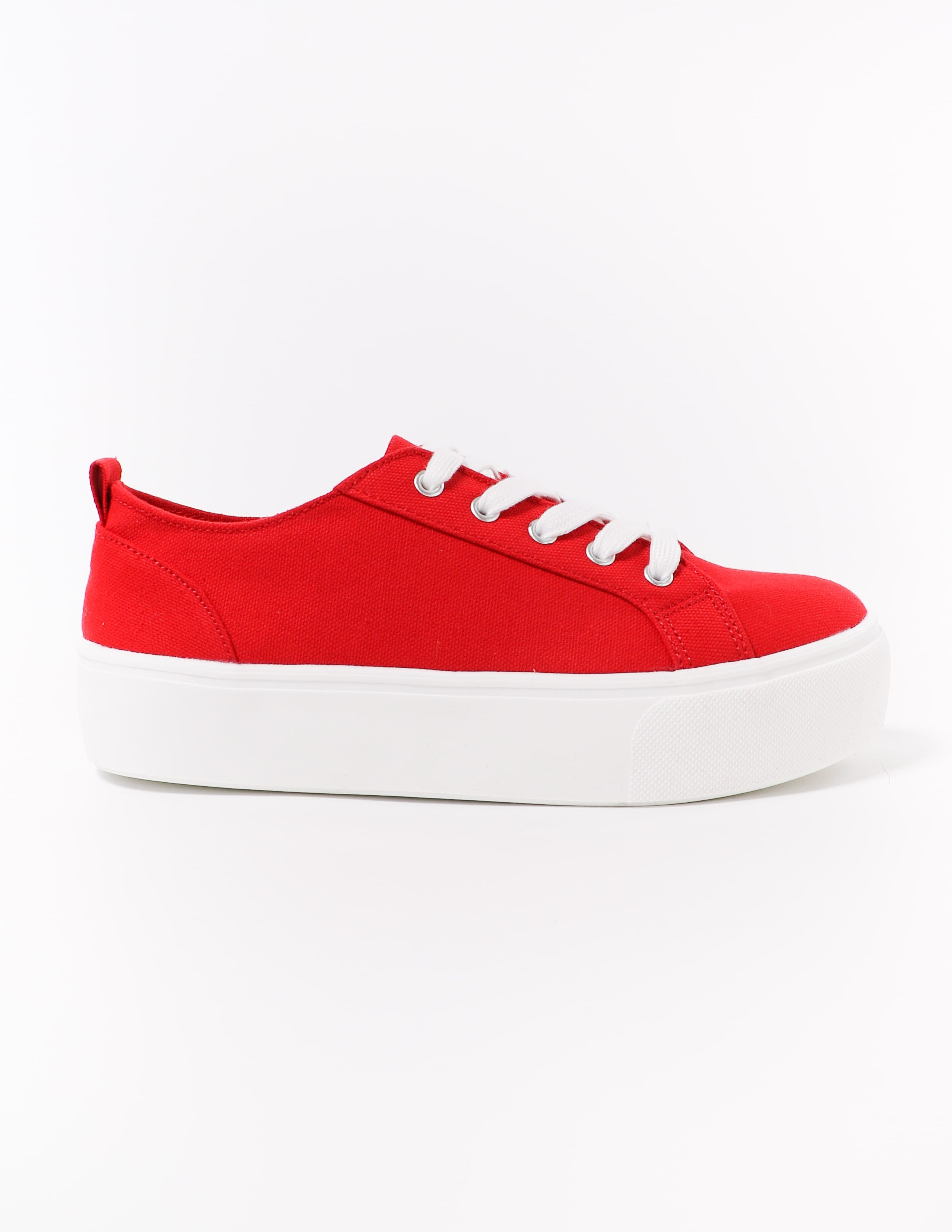 side of the red canvas lace take it slow sneaker - elle bleu shoes
