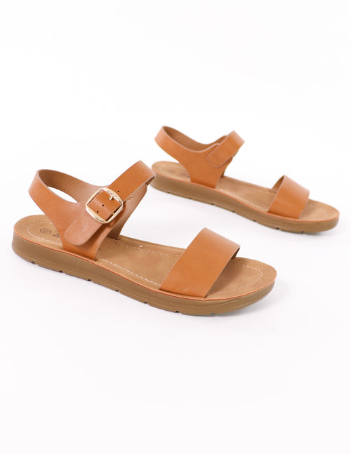life's a beach tan buckle sandal on white background