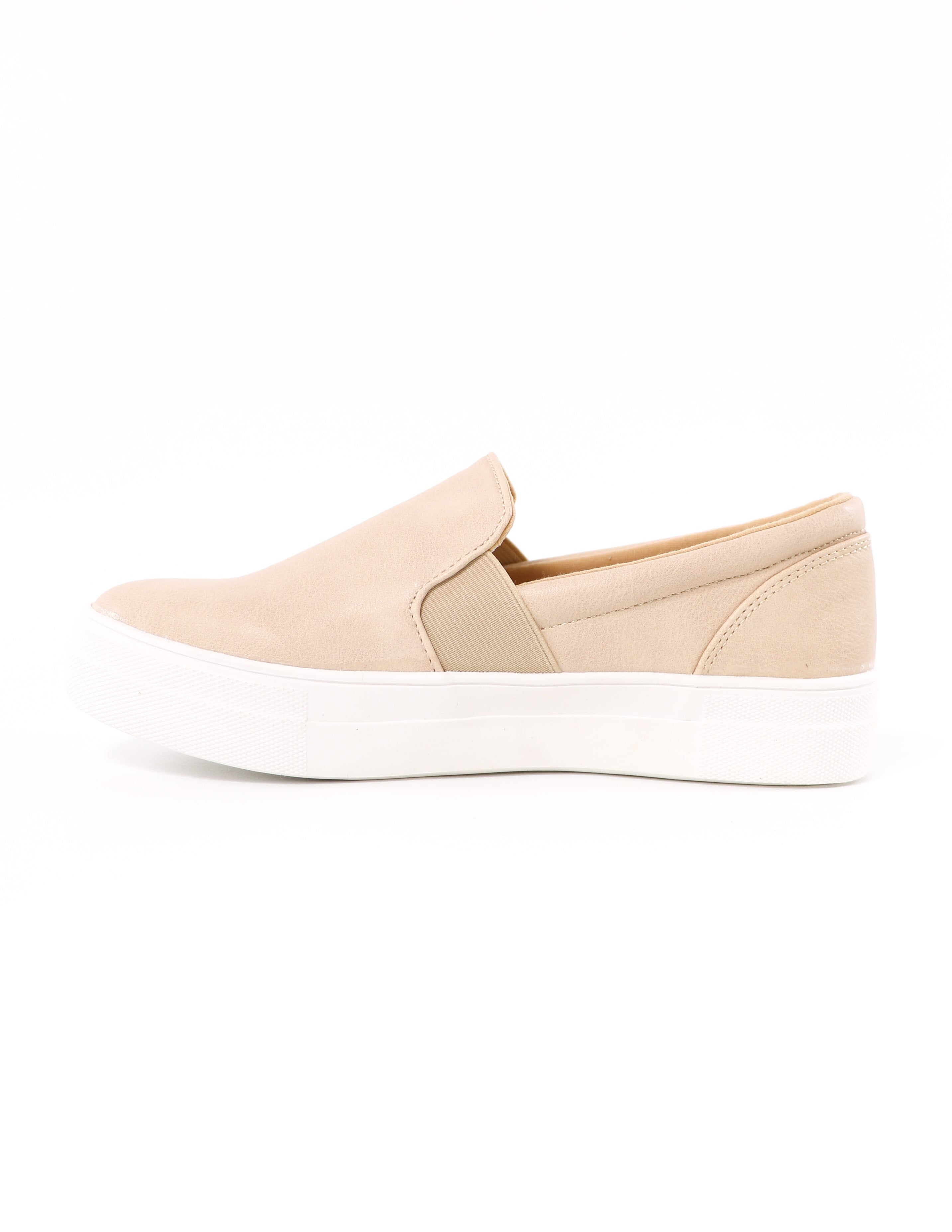 side of the elastic gore kickin' it sole-o slip on natural sneaker - elle bleu shoes
