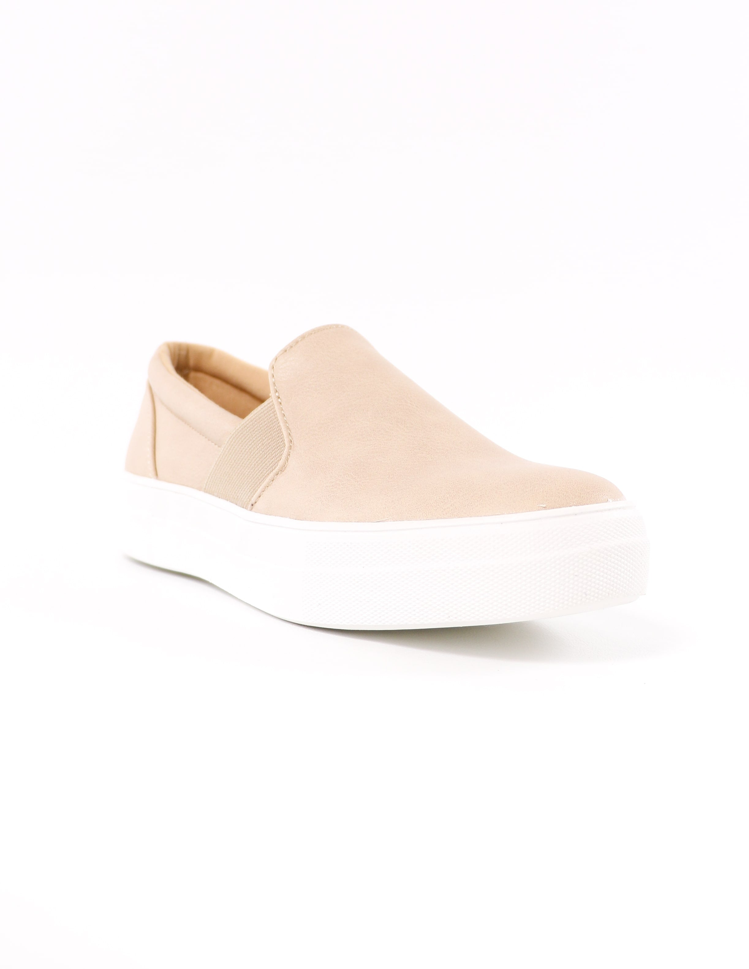 front of the natural kickin' it sole-o slip on sneaker on white background - elle bleu shoes