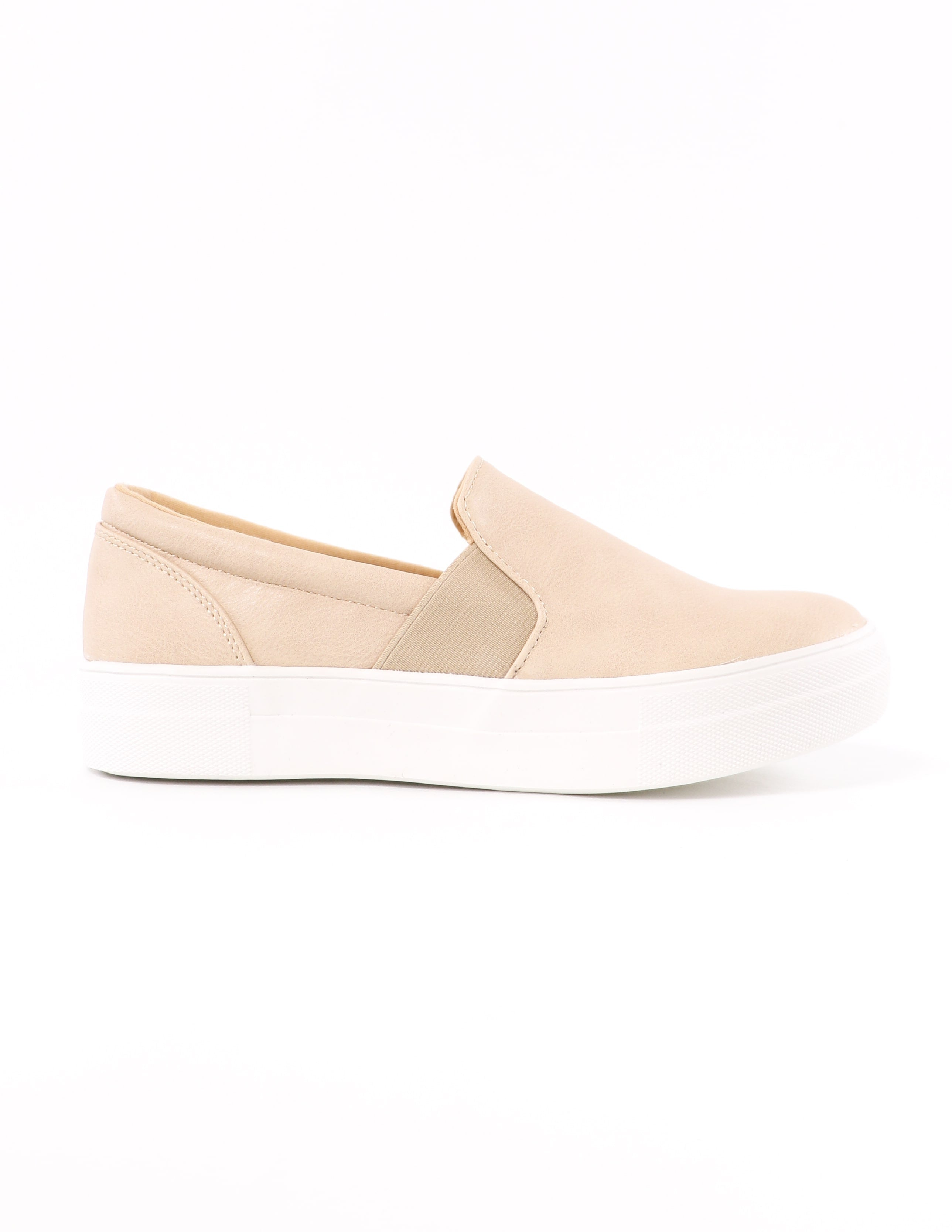 kickin' it sole-o natural slip on sneaker on white background - elle bleu shoes